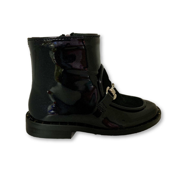 Papanatas Black Classic Chain Boot-Tassel Children Shoes