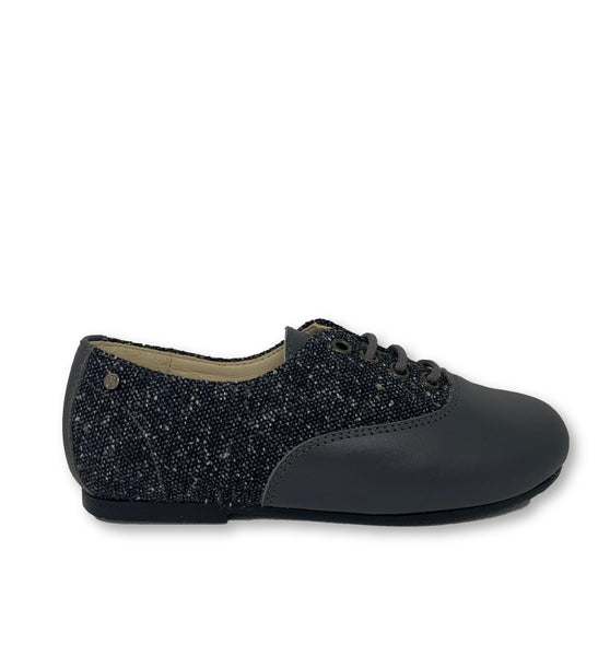 Manuela Grey Leather and Tweed Derby-Tassel Children Shoes