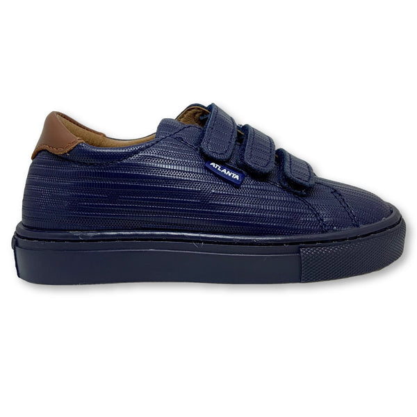 Atlanta Mocassin Navy Lined Velcro Sneaker-Tassel Children Shoes