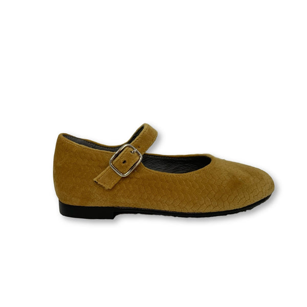 Blublonc Mustard Textured Velvet Mary Jane-Tassel Children Shoes