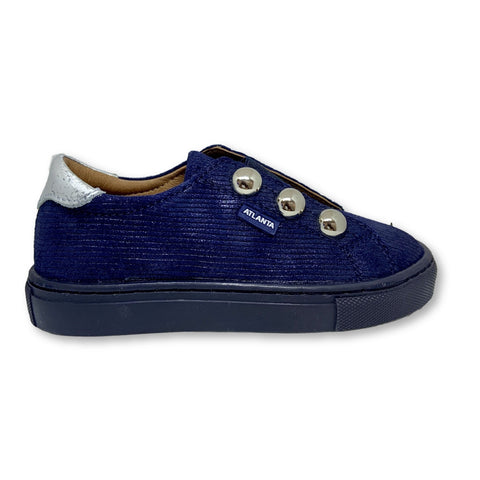 Atlanta Mocassin Navy Lined Slip-on Sneaker with Silver Buttons-Tassel Children Shoes