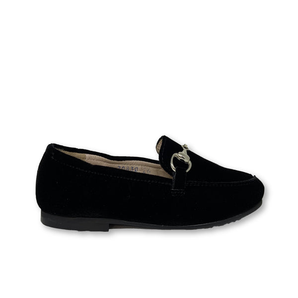 Beberlis Black Velvet Chain Loafer-Tassel Children Shoes