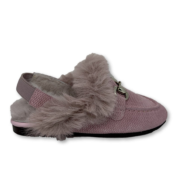Papanatas Rose Textured Suede Fur Mule-Tassel Children Shoes
