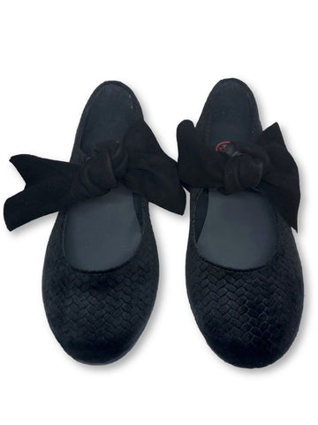BluBlonc Black Textured Velvet Bow Ballet-Tassel Children Shoes