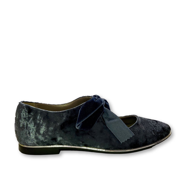 Papanatas Blue/Gray Velvet Bow Shoe-Tassel Children Shoes