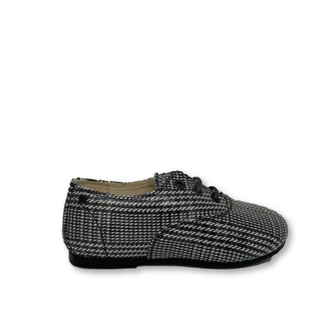 Manuela Plaid Leather Derby-Tassel Children Shoes