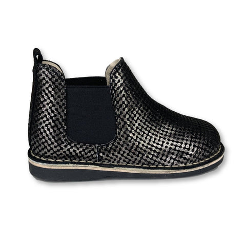 Sonatina Black and Silver Metallic Bootie-Tassel Children Shoes