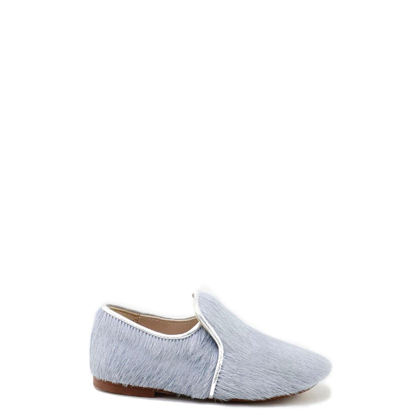 Papanatas Blue/Gray Pony Hair Smoking Loafer-Tassel Children Shoes