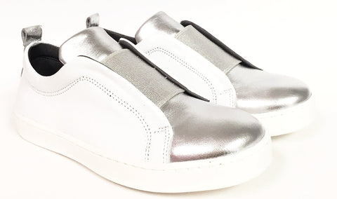 Blublonc White And Silver Elastic Sneaker-Tassel Children Shoes