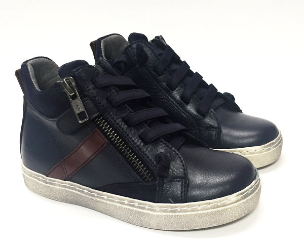 Blublonc Navy High-top Sneaker-Tassel Children Shoes