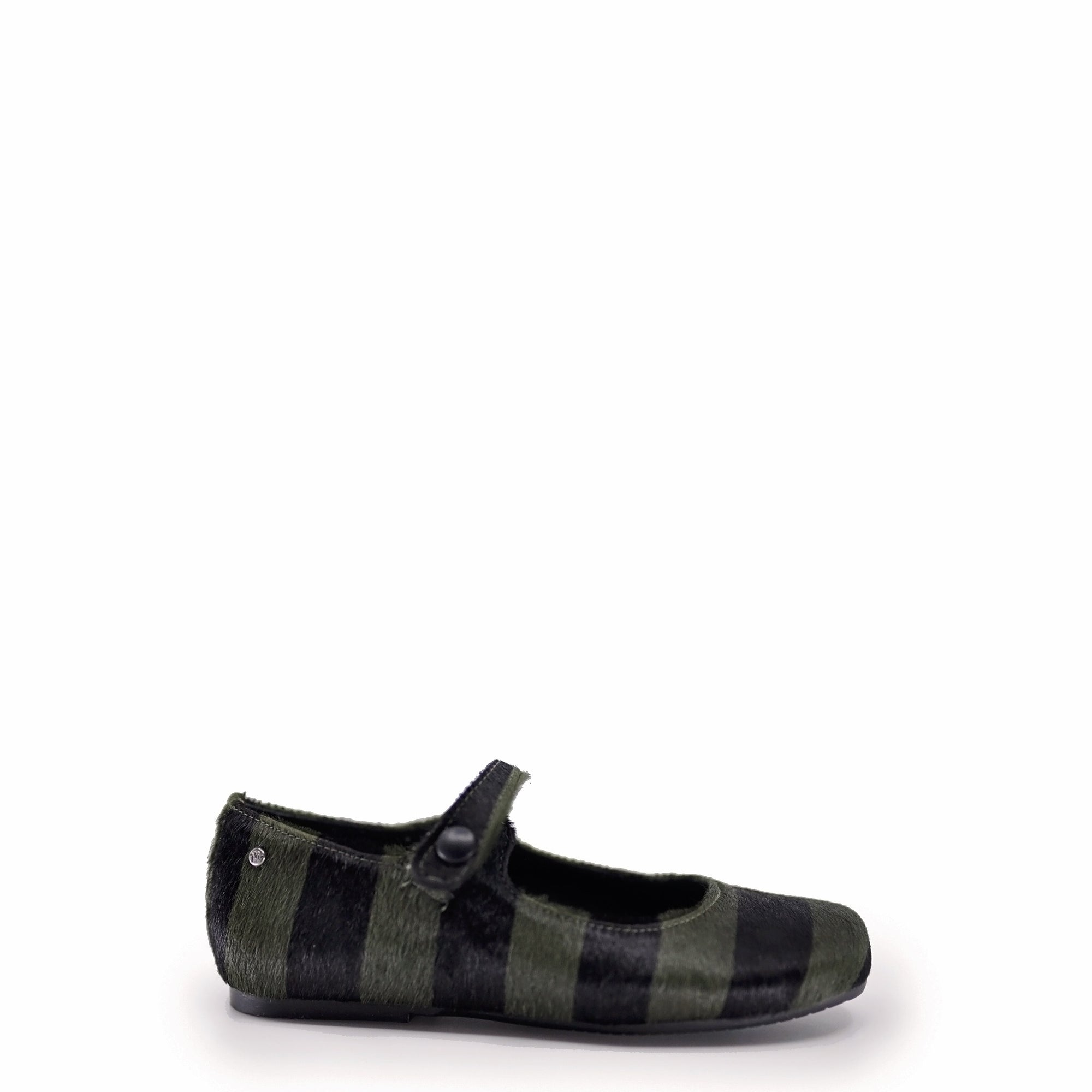 Manuela Green and Black Striped Pony Hair Mary Jane-Tassel Children Shoes