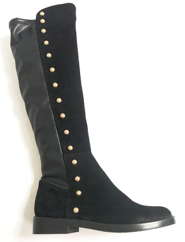 Marian Black Studded Stretch Boot-Tassel Children Shoes