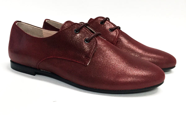 Beberlis Deep Red Oxford-Tassel Children Shoes