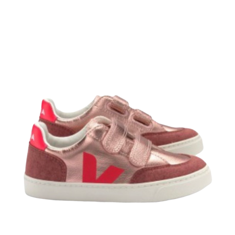 Veja Pink Metallic and Suede Velcro Sneaker-Tassel Children Shoes