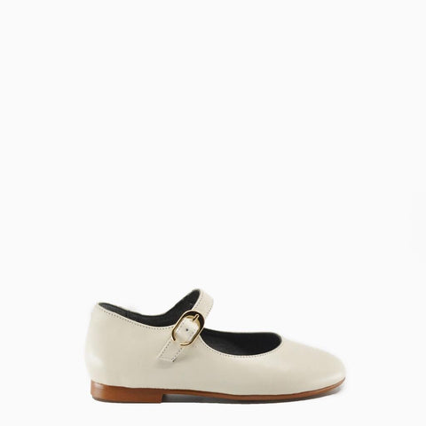 Blublonc Off-White Leather Mary Jane-Tassel Children Shoes