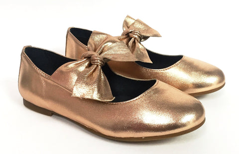 Blublonc Rose Gold Bow Ballet-Tassel Children Shoes