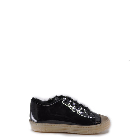 Pepe Black Patent Fur Sneaker-Tassel Children Shoes