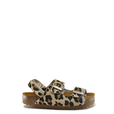 Sonatina Leopard Pony Hair Double Buckle Velcro Sandal-Tassel Children Shoes