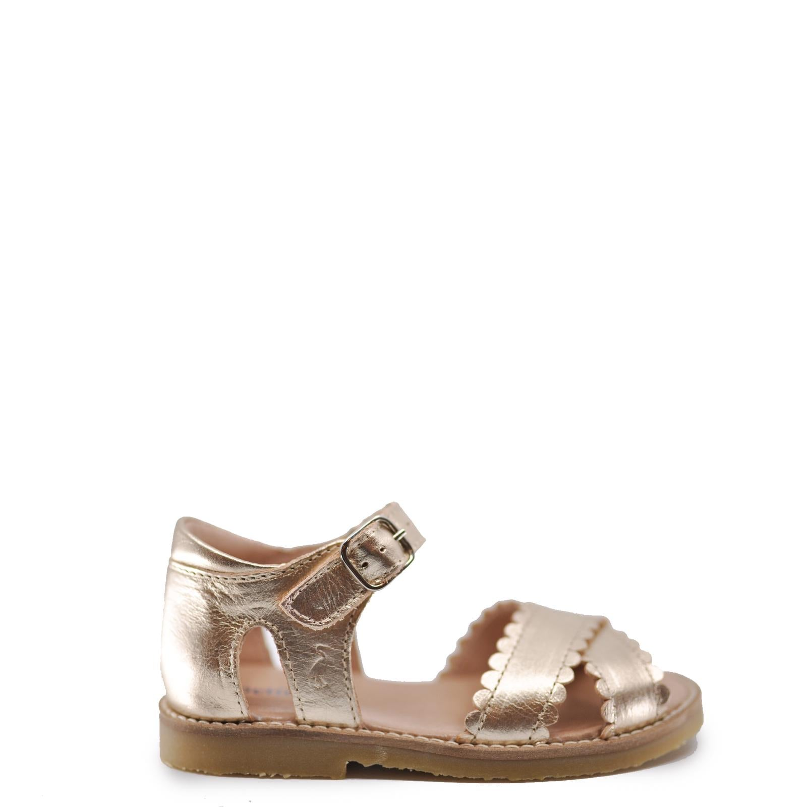 Petit Nord Gold Scallop Criss Cross Sandal-Tassel Children Shoes