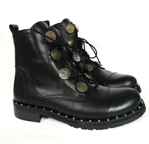 Confetti Black Coin Boot-Tassel Children Shoes