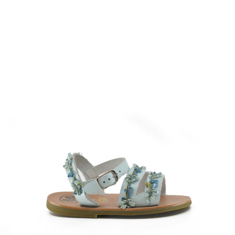 Pepe Baby Blue Flower Buckle Sandal-Tassel Children Shoes