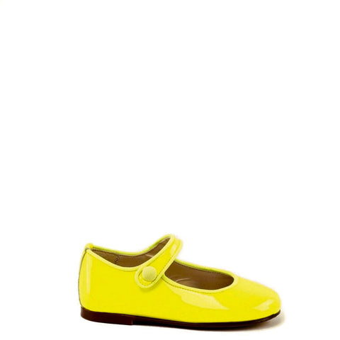 Papanatas Neon Yellow Patent Mary Jane-Tassel Children Shoes