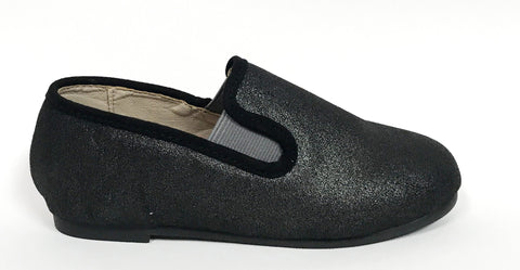 Zeebra Black Metallic Loafer-Tassel Children Shoes