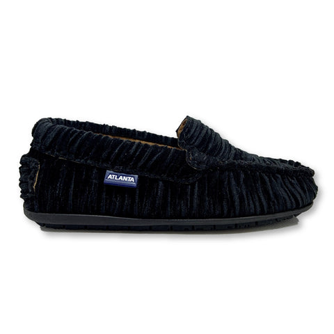 Atlanta Mocassin Black Velvet Lined Loafer-Tassel Children Shoes