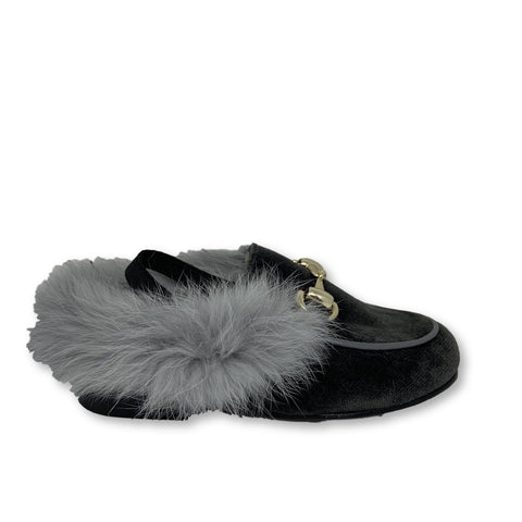 Hoo Grey Velvet Fur Mule-Tassel Children Shoes