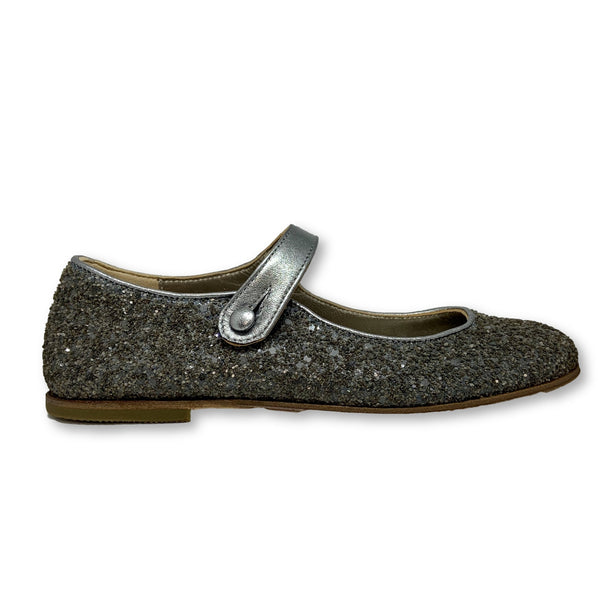 PePe Gray Glitter Mary Jane-Tassel Children Shoes
