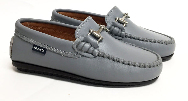 Atlanta Mocassin Gray Buckle Loafer-Tassel Children Shoes