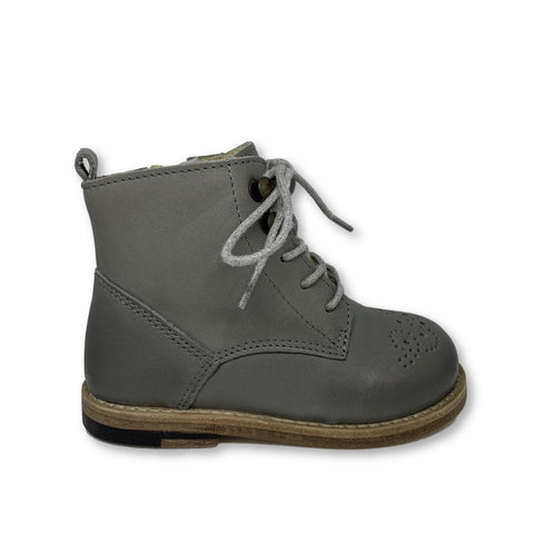 Young Soles Buster Gray Burnished Leather Boot-Tassel Children Shoes
