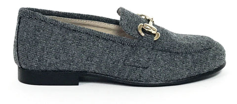 Hoo Gray Wool Chain Loafer-Tassel Children Shoes