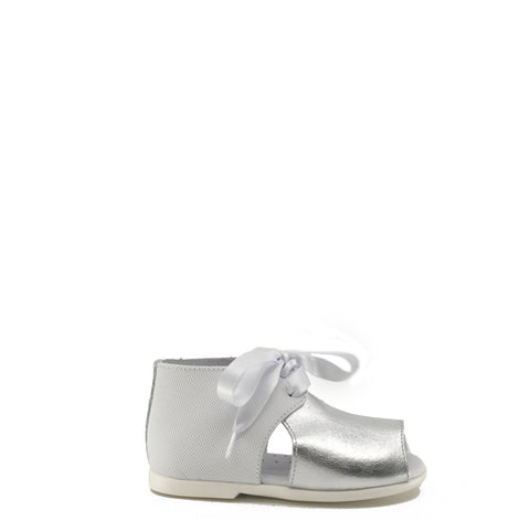 Nens White and Silver Lace Sandal-Tassel Children Shoes