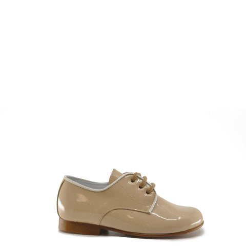 Beberlis Beige Lace-Up Patent Dress Shoe-Tassel Children Shoes