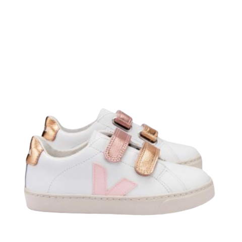 Veja Pink and Gold Velcro Sneaker-Tassel Children Shoes