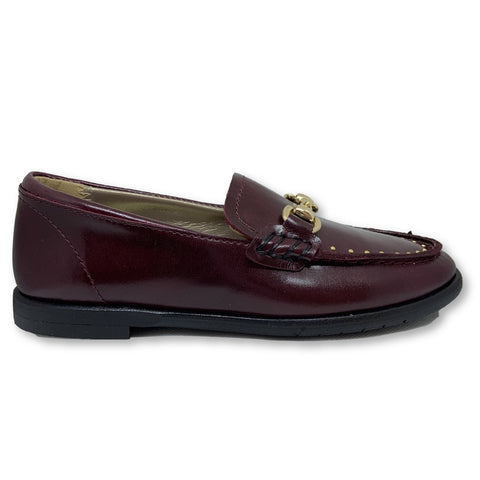 Papanatas Burgundy Buckle Loafer-Tassel Children Shoes