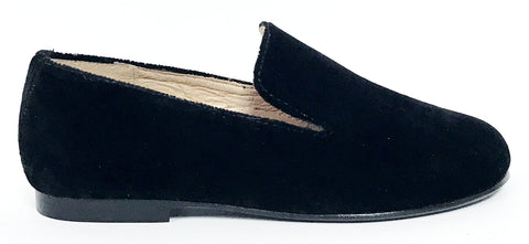 Hoo Black Velvet Loafer-Tassel Children Shoes