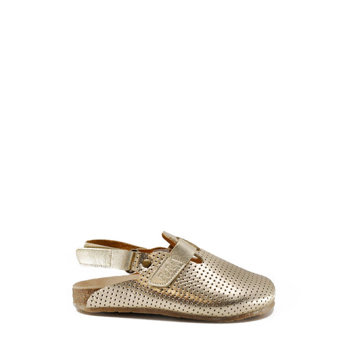 Pepe Gold Perforated Clog-Tassel Children Shoes