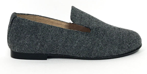 Hoo Gray Wool Loafer-Tassel Children Shoes