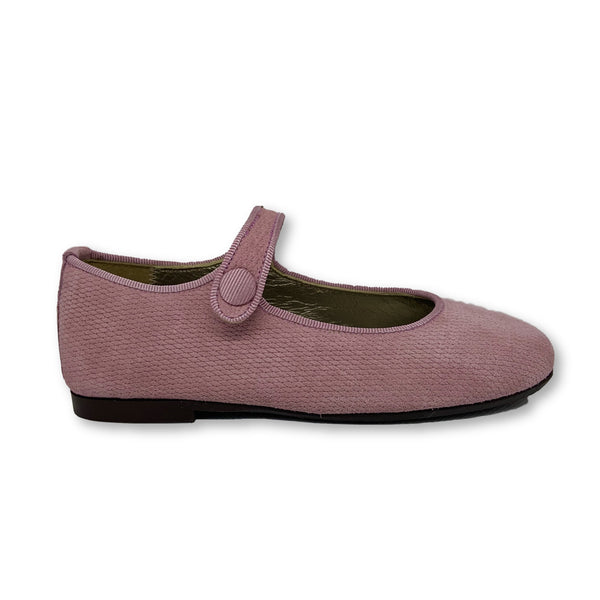 Papanatas Rose Textured Suede Mary Jane-Tassel Children Shoes