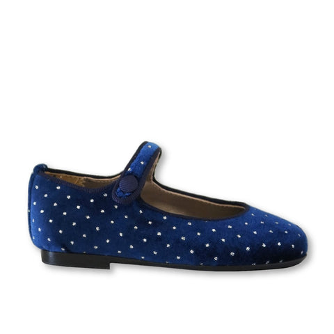 Papanatas Navy Velvet Dot Mary Jane-Tassel Children Shoes