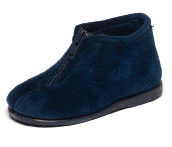 Cienta Navy Velour Zip Slipper-Tassel Children Shoes