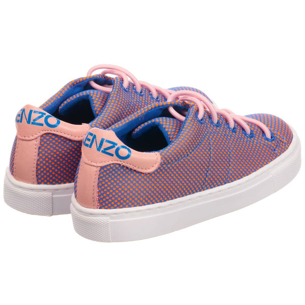 Kenzo Pink and Blue Racing Sneakers-Tassel Children Shoes