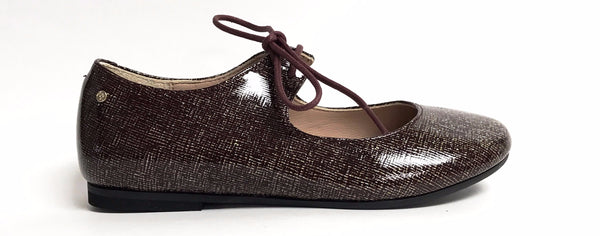 Manuela Burgundy Shimmer Open Lace Shoe-Tassel Children Shoes