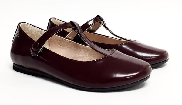 Manuela Burgundy Snap T-strap-Tassel Children Shoes
