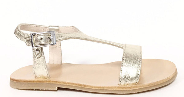 Manuela Gold T-strap Sandal-Tassel Children Shoes