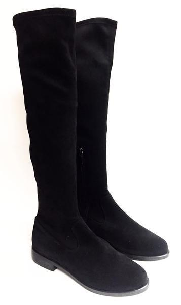 Marian Black Suede Over-the-Knee Stretch Boot-Tassel Children Shoes