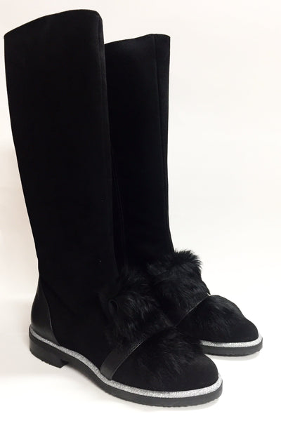 Marian Black Suede with Fur Tall Boot-Tassel Children Shoes