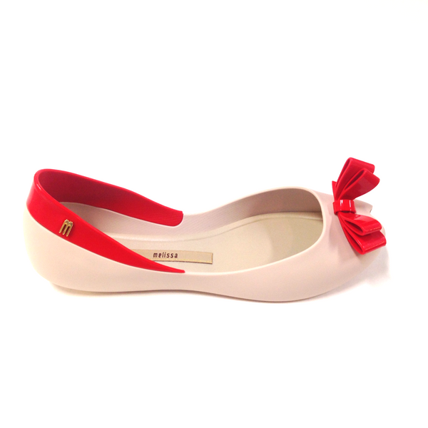Melissa Beige and Red Bow Jelly-Tassel Children Shoes